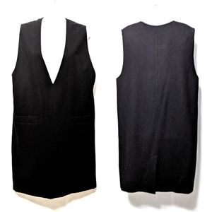 {RETRO} Black 100% Wool Vest Midi Dress 16